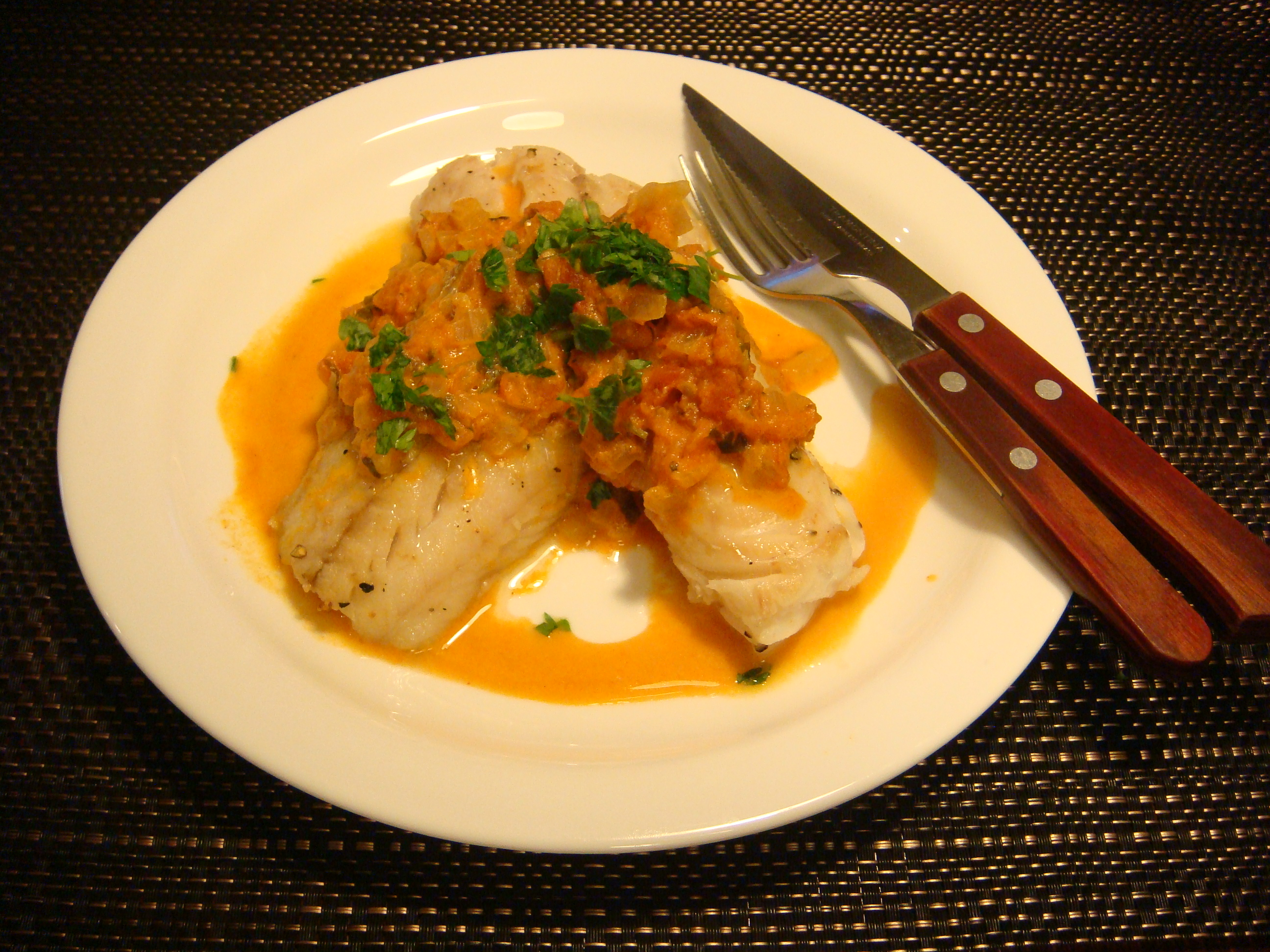 Pan seared fish fillets in tomato cream sauce dish by dish for Sauce for fish
