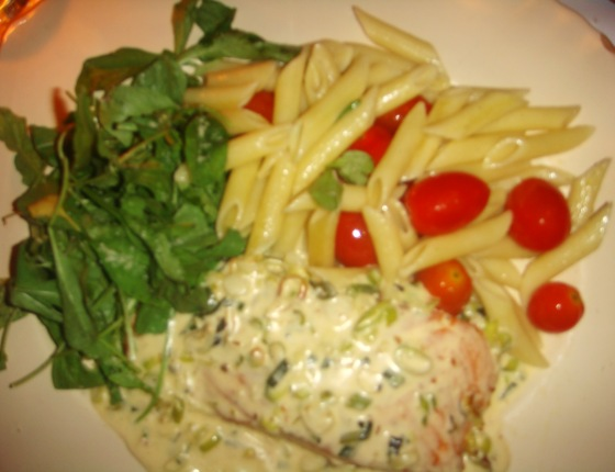 Grilled Salmon in Cream Leek Sauce3